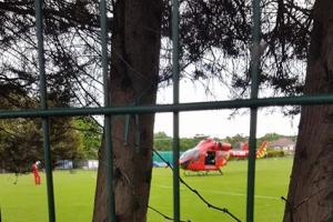 An air ambulance landed on a field near the stabbing