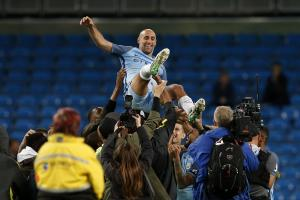 Pablo Zabaleta is thrown into the air following his final Manchester City appearance. Picture: Action Images