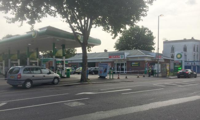 Crime scene in place at petrol station