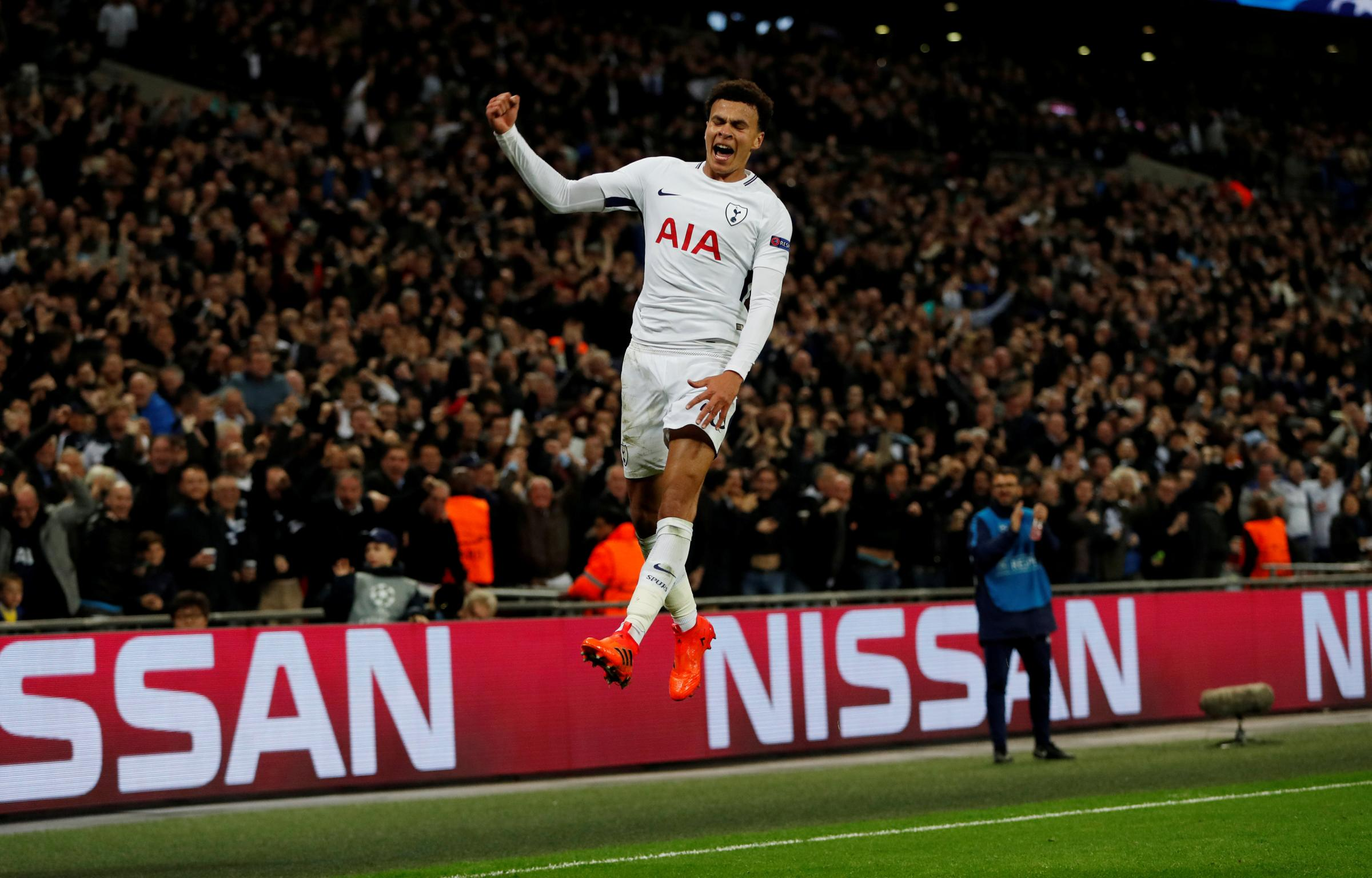 Dele Alli celebrates scoring his second goal against Real Madrid. Picture: Action Images