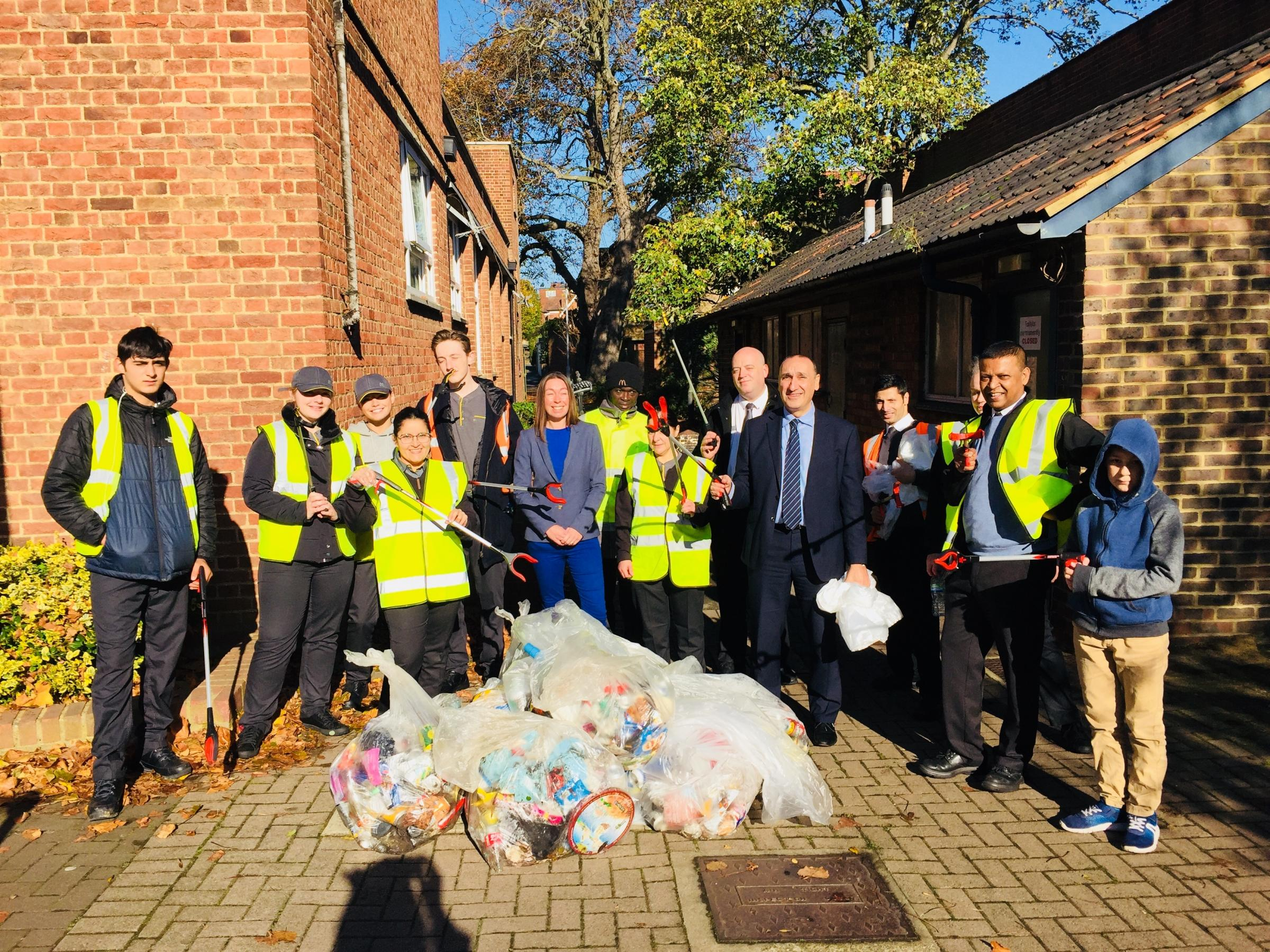 A team of McDonald's workers volunteered for a litter pick in Chingford