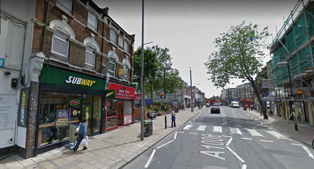 The man was stabbed on Tuesday evening in Subway in St James St, Walthamstow. Pic: Google Maps.