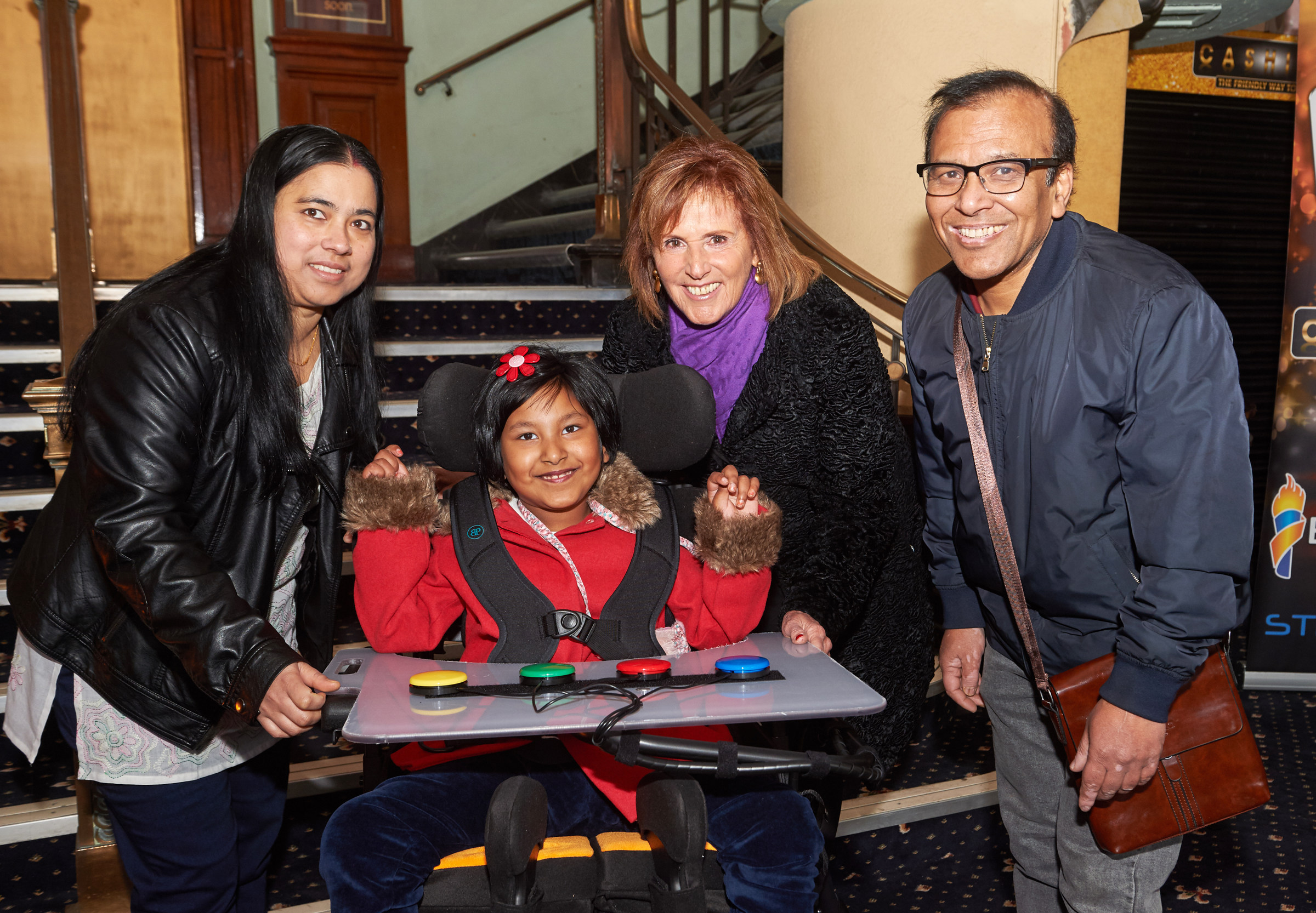 Parents Sampa (far left) and Indrajit Saha with daughter Arna and Linda Lindsay co founder and trustee of the CHIP's charity (photo - Professional Images/@ProfImages)