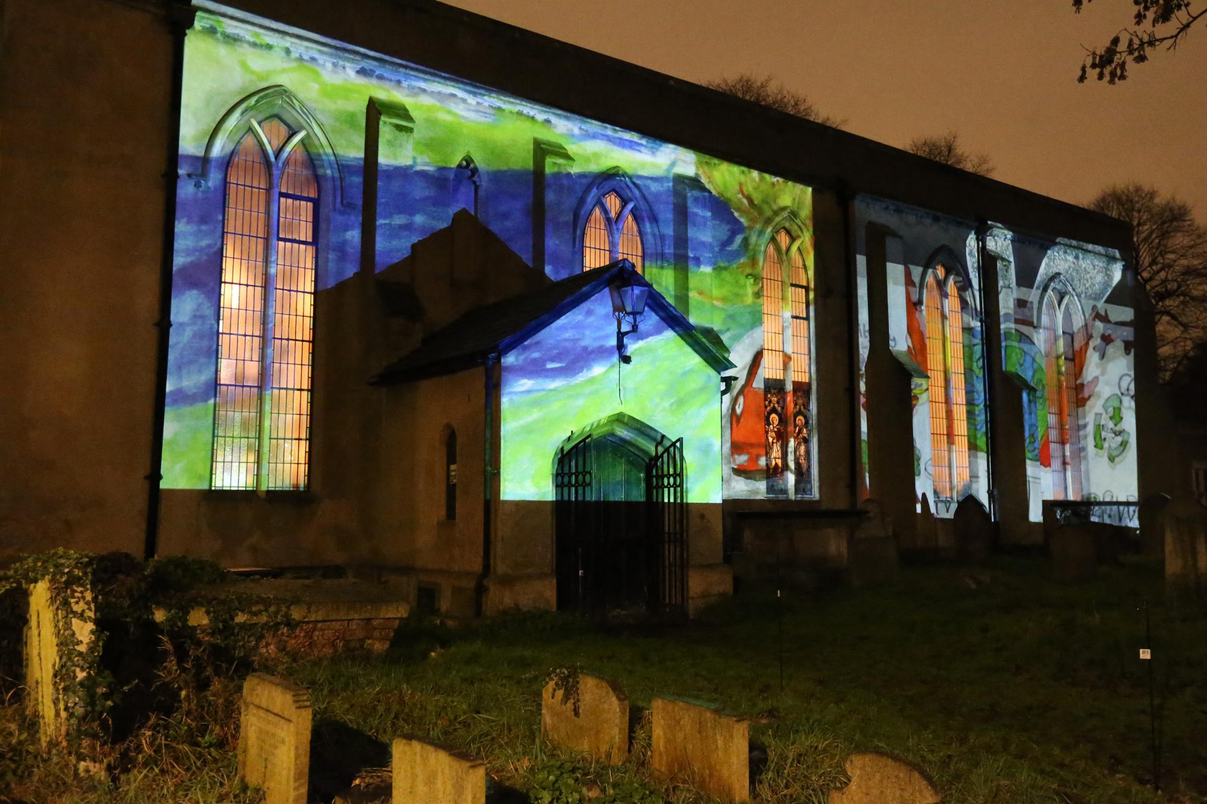 Last year's Advent(us) project at St Mary's saw the building lit up with festive images.