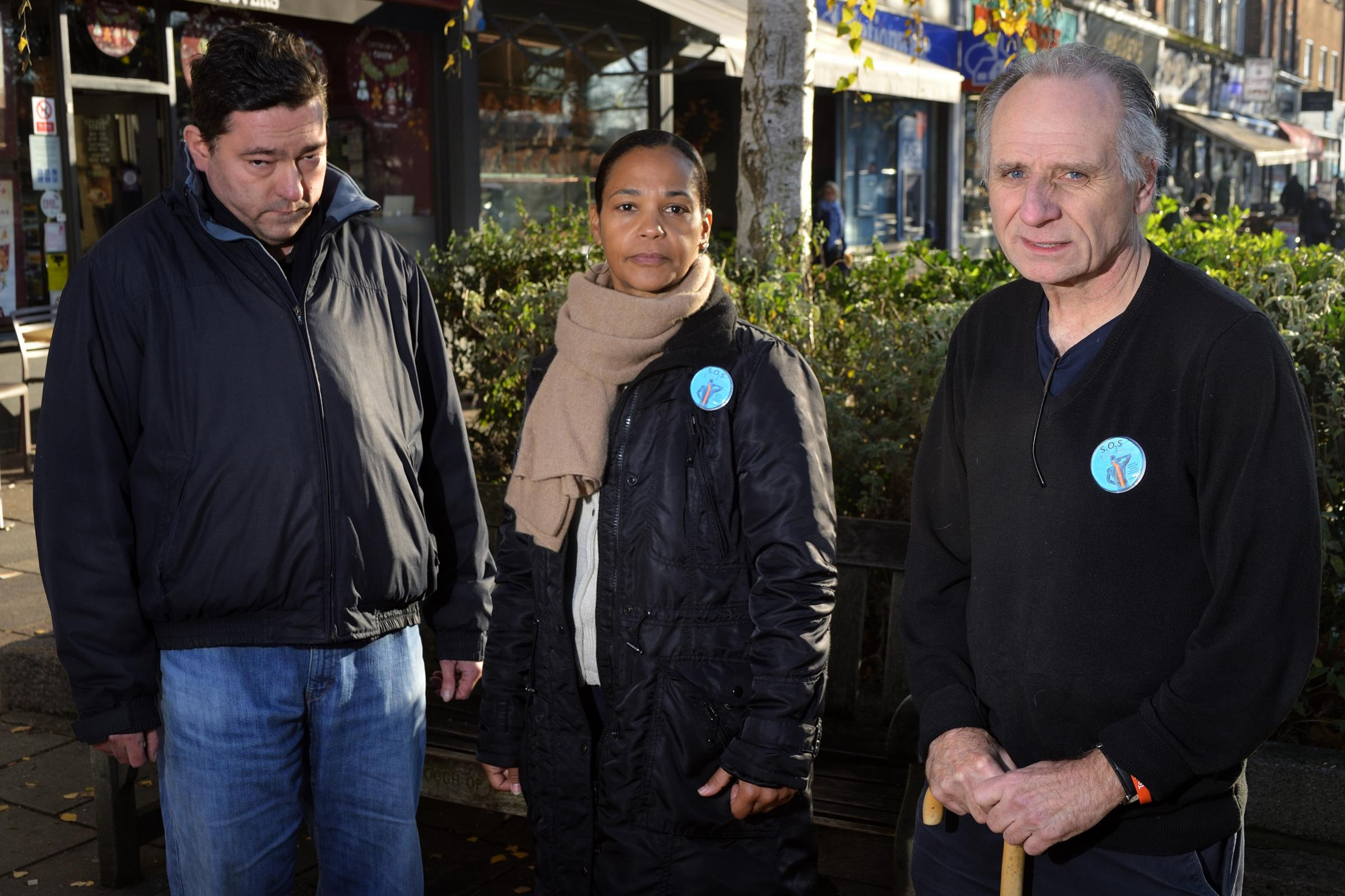 Allan Liddle, Andrea Herbert and Hamilton Reed, Members of Save Our Spines campaign group.