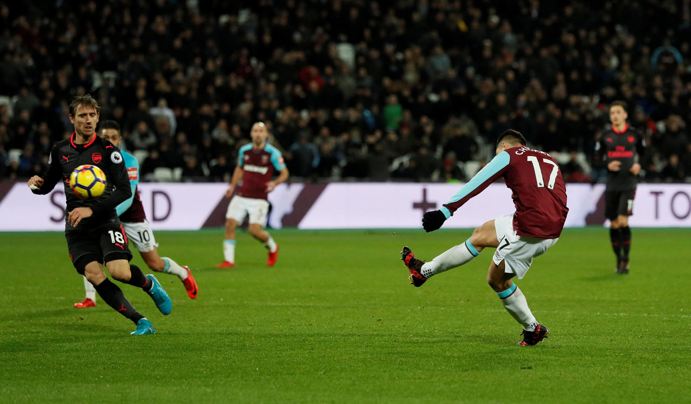 Javier Hernandez almost clinched a late win for West Ham when he hit the bar. Picture: Action Images