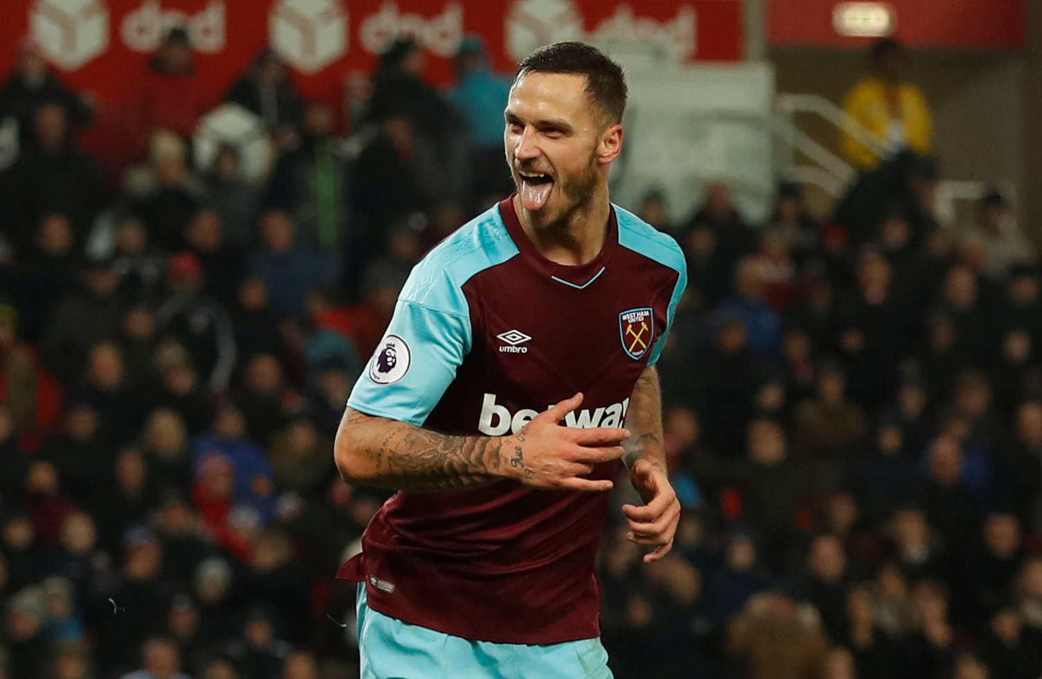 A jubilant Marko Arnautovic after scoring. Picture: Action Images