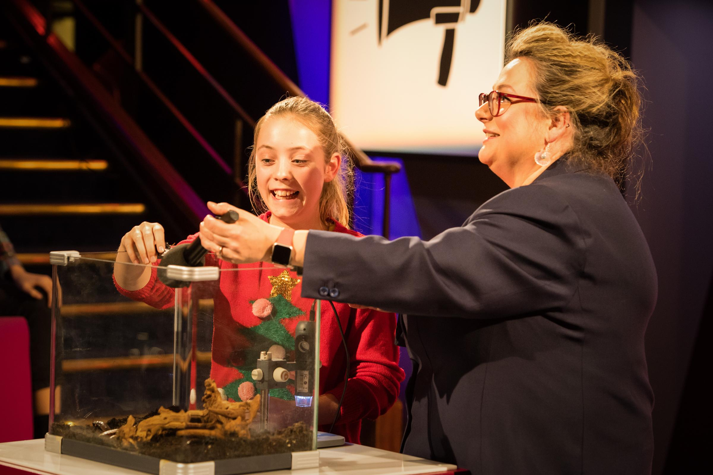 Orla had no issue handling cockroaches in her Christmas Lectures demo