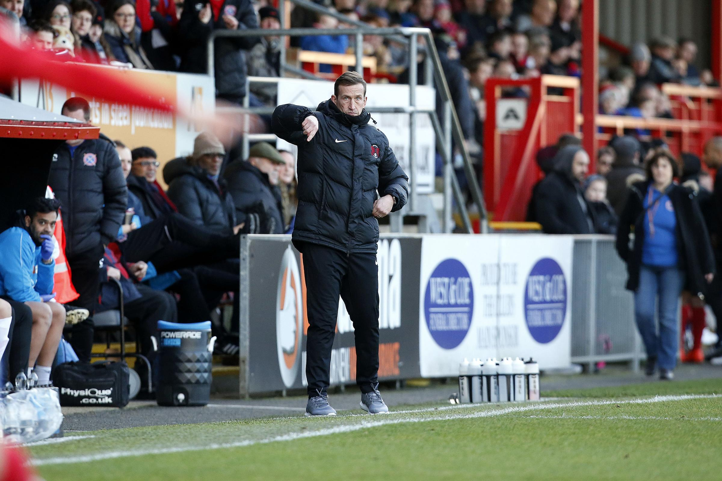 Justin Edinburgh issues instructions during Monday's goalless draw. Picture: Simon O'Connor