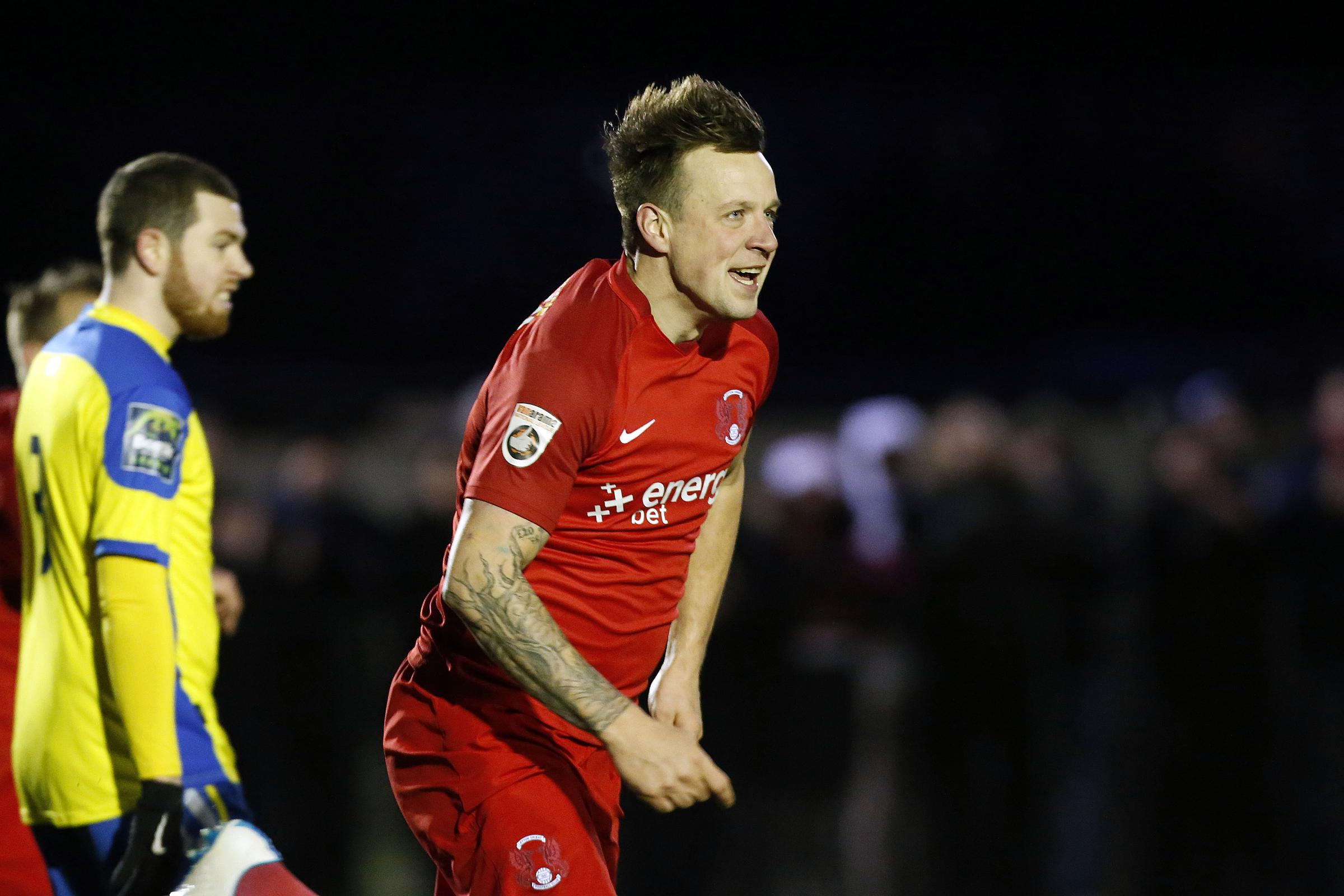 Josh Coulson celebrates one of his two goals for Leyton Orient. Picture: Simon O'Connor