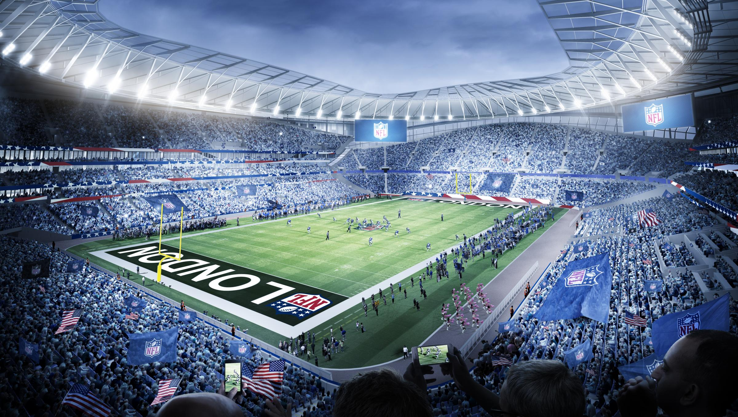 A CGI of how Tottenham's new stadium will look in NFL mode. Picture: POPULOUS