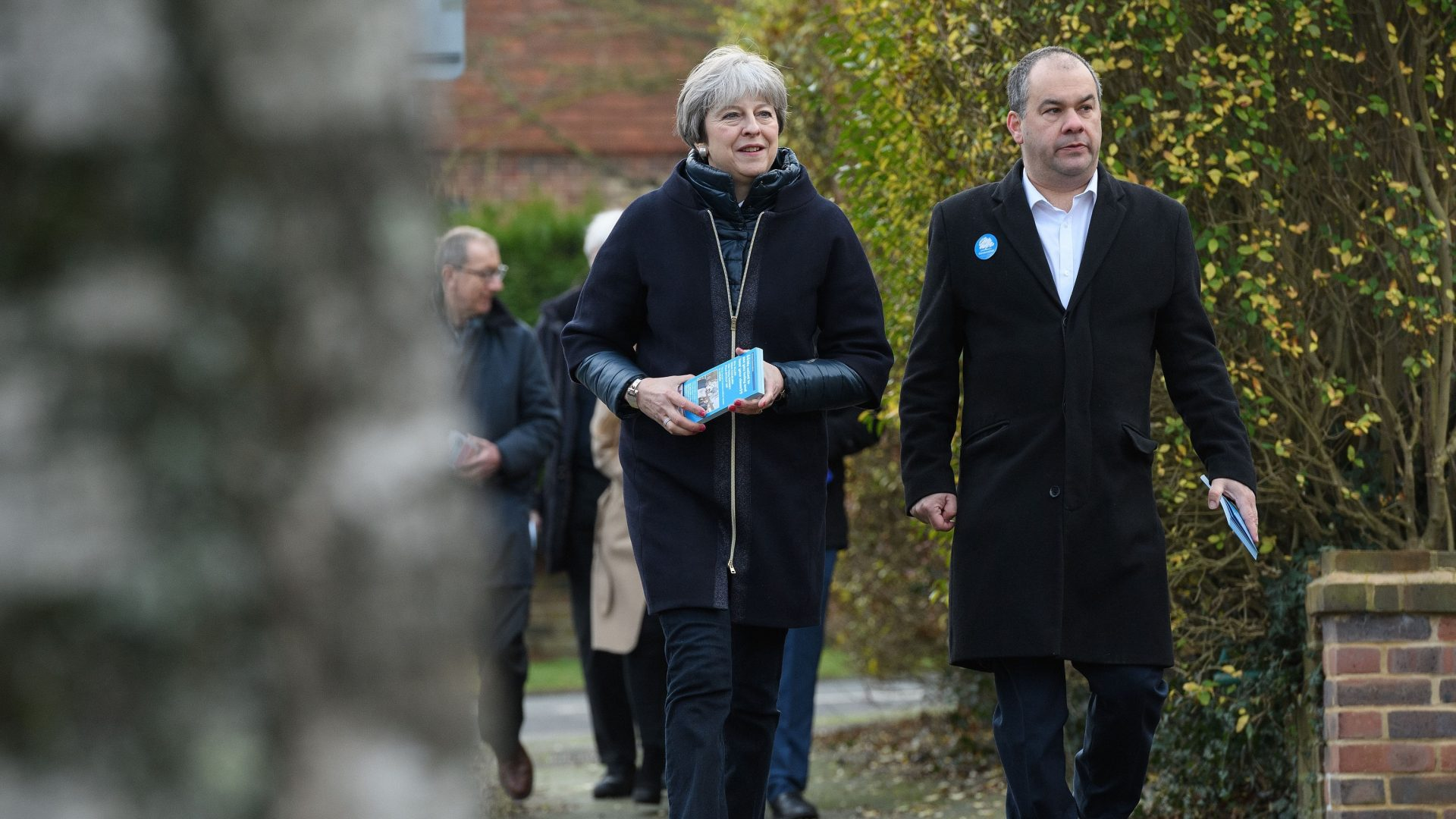 Theresa May campaigning in south-west London with MP for Sutton and Cheam Paul Scully (Leon Neal/PA)