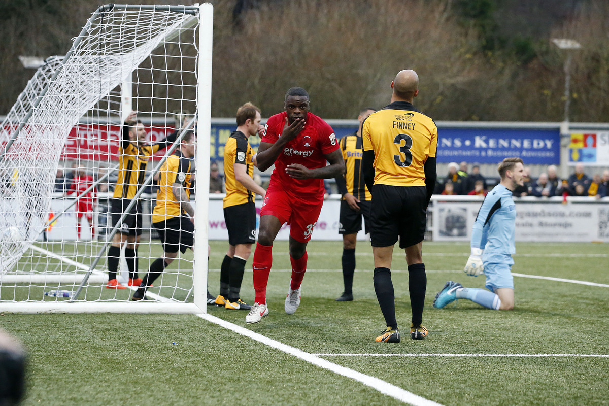 Bondz N'Gala celebrates his goal against Maidstone United. Picture: Simon O'Connor