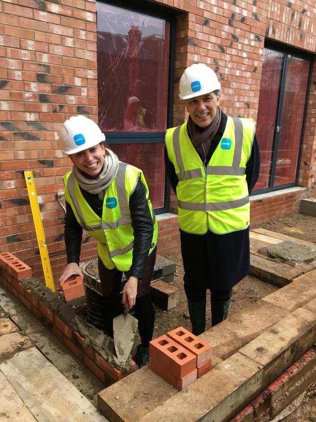 Cllr Clare Coghill with Mark Vlessing, CEO of Pocket Living, at this week's topping out ceremony in Gainsford Road, Walthamstow.