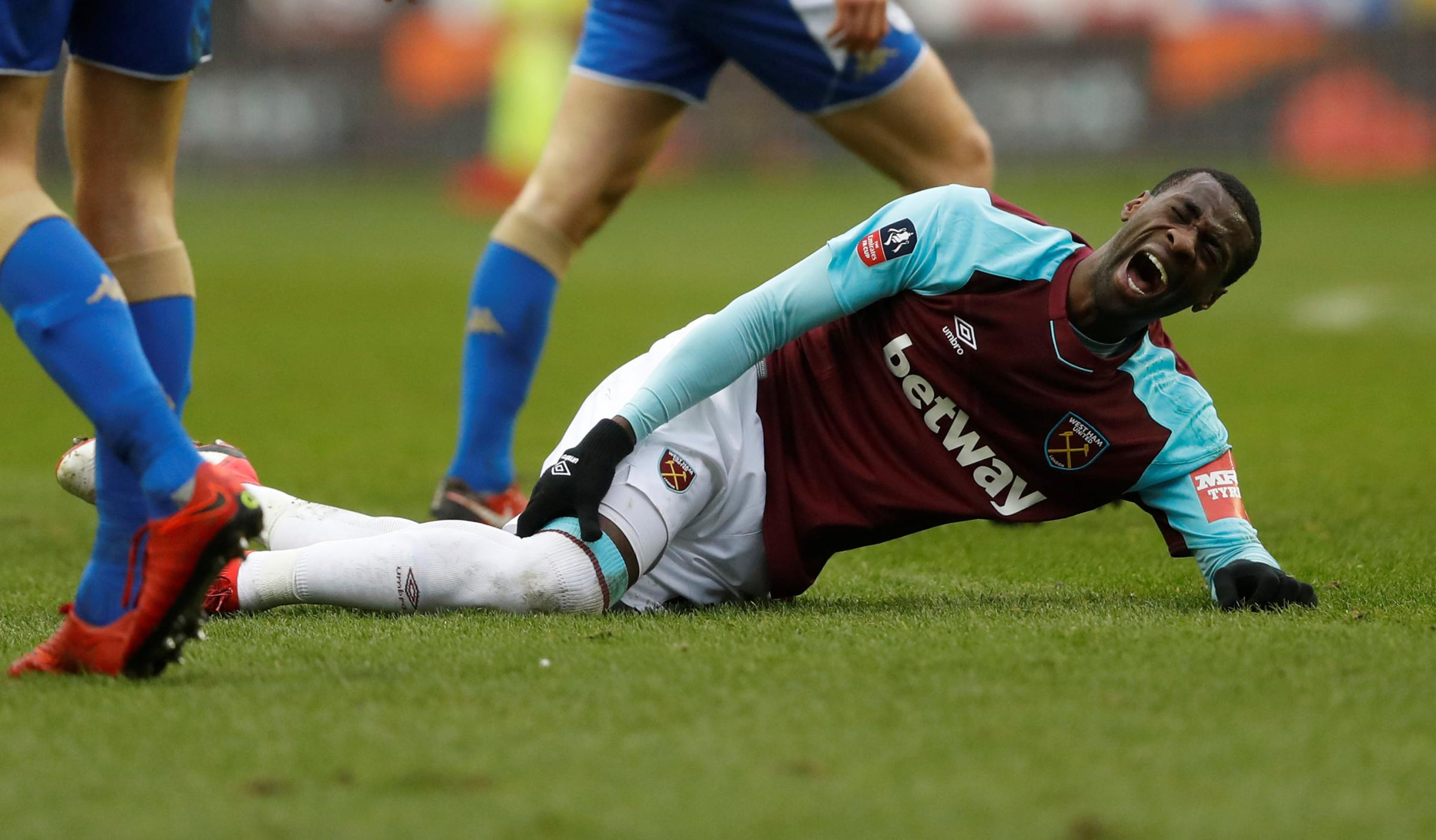 Pedro Obiang sustained the injury in the Hammers' FA Cup exit at Wigan Athletic. Picture: Action Images