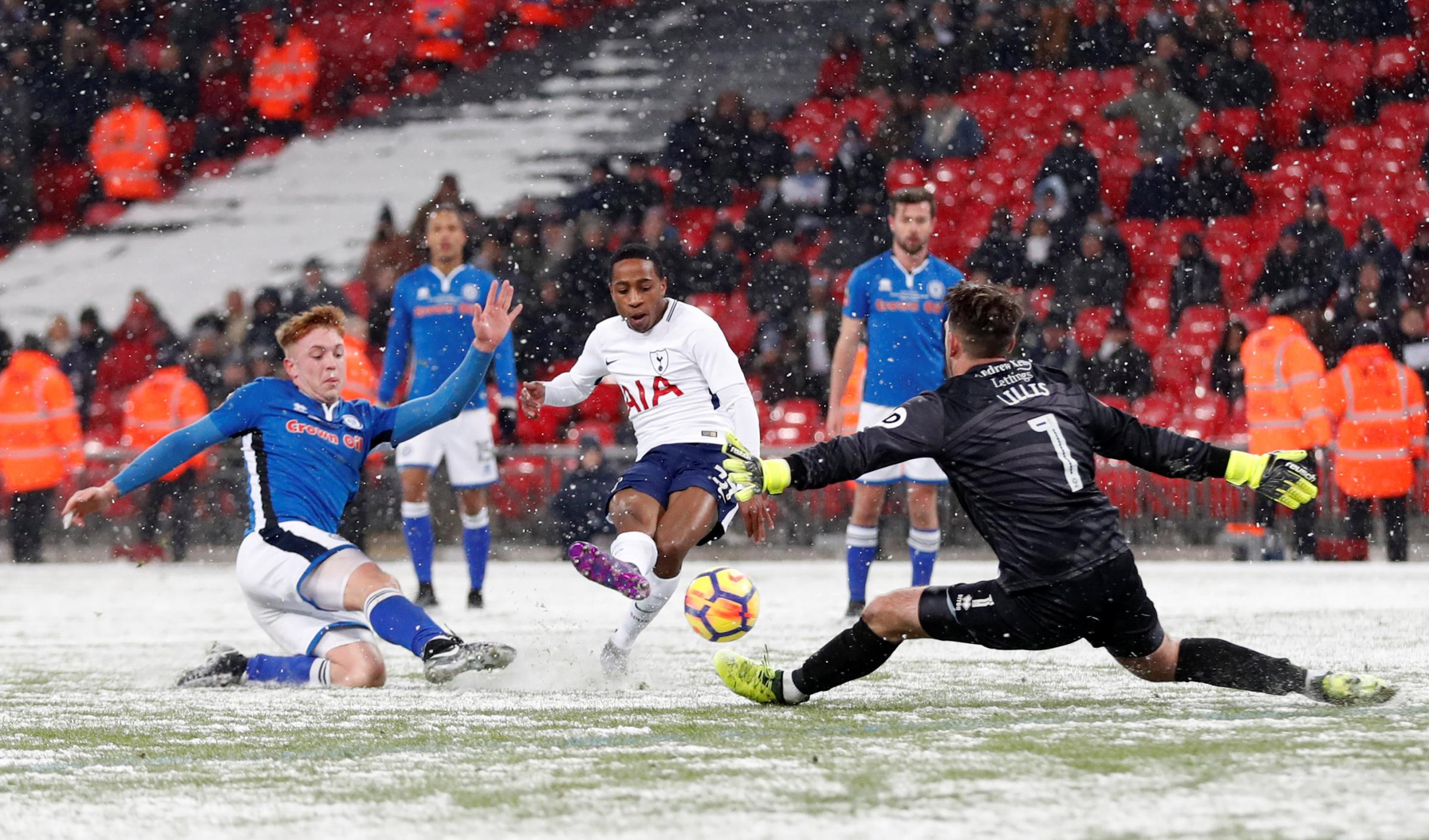 Kyle Walker-Peters rounds off the scoring in the Wembley snow. Picture: Action Images