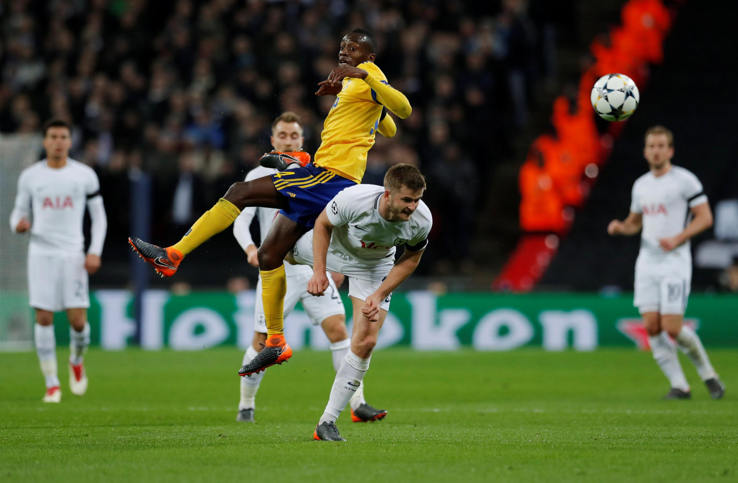 Eric Dier is challenged by Blaise Matuidi in Spurs' Champions League defeat to Juventus. Picture: Action Images