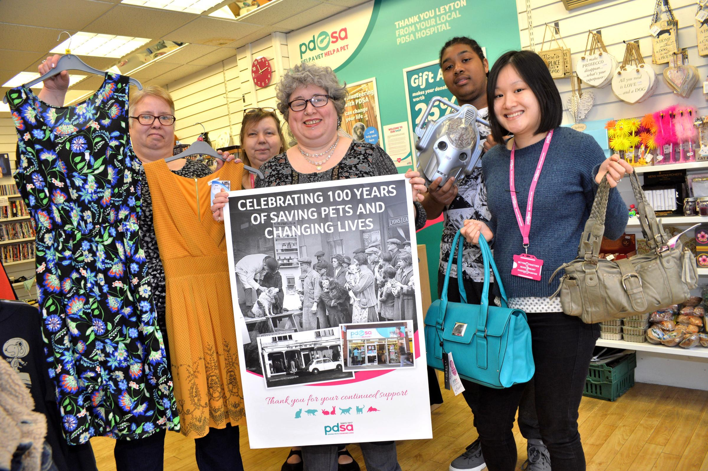 The PDSA charity shop in Leyton is appealling for donations. L-R Alex Wilson, Kim Jarvis, Susan White, Aqeel Garner and Kim Jarvis as the charity celebrates 100 years. (13/3/2018) EL91916-02