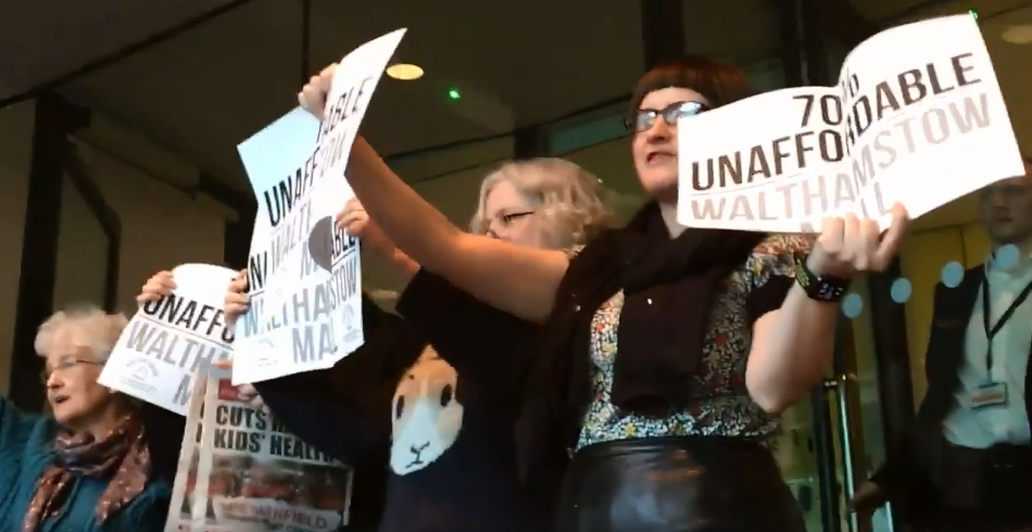 Members of Save Our Square E17 protest at the Mayor of London's Question Time on Thursday.