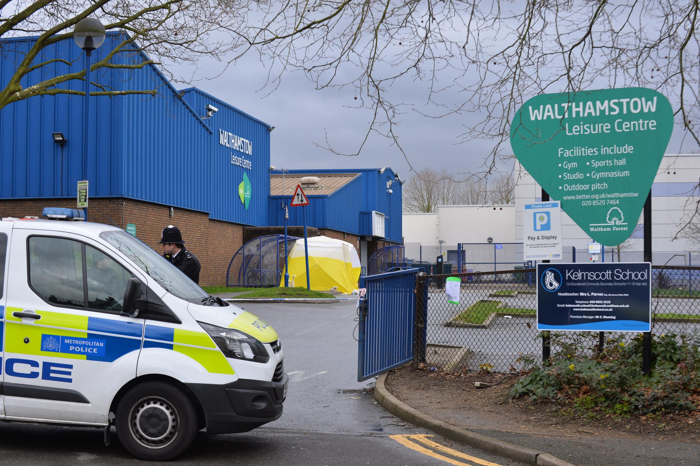 The boy was found suffering from a gunshot wound outside Walthamstow Leisure Centre