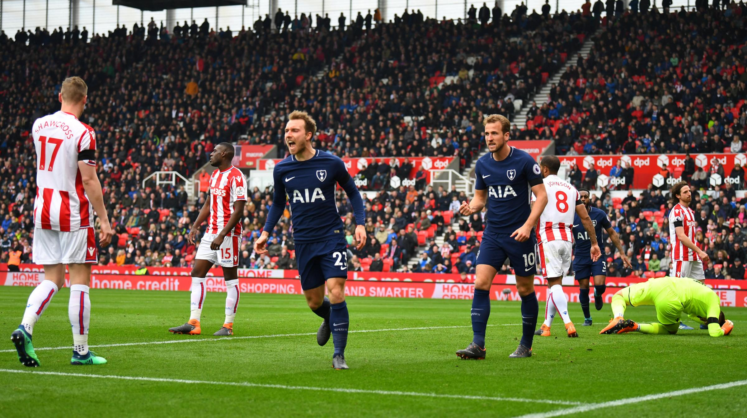 Christian Eriksen celebrates scoring Tottenham's first goal. Picture: Action Images