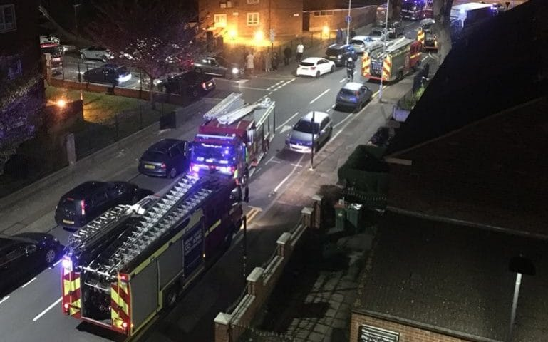 Neighbours flee their homes after 17th floor flat fire