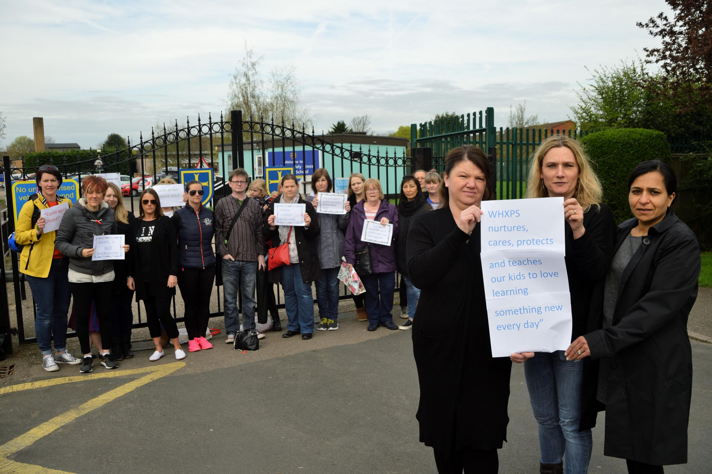Parents and campaigners are angry about a recent bad Ofsted report and the threat of Waltham Holy Cross school becoming an academy. Waltham Abbey. Essex. (17/4/2018) EL91975_01