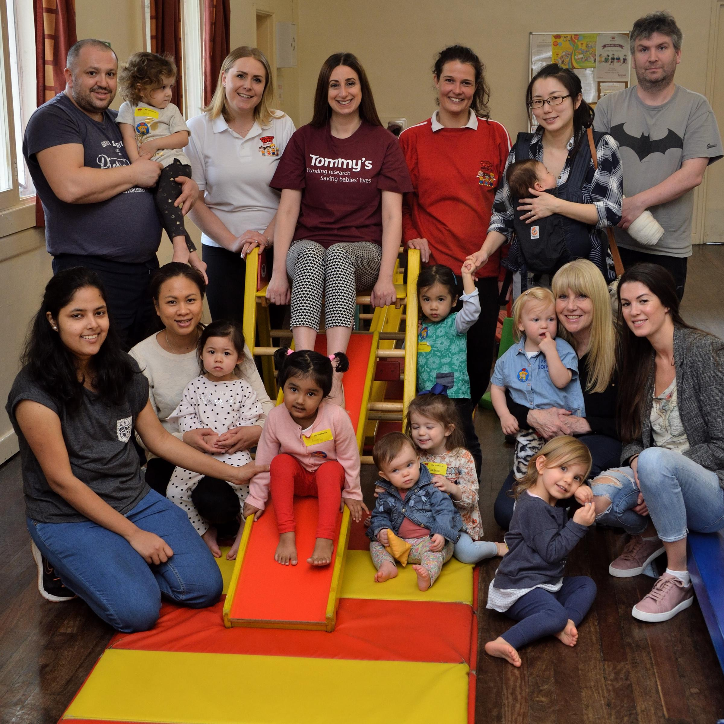 Tumble Tots have raised more than £60,000 for TommyÕs the baby charity. Tara Hamdi (Head of Community Events, TommyÕs) visits a play session at Roding Valley Hall. Essex. (17/4/2018) EL91976_03