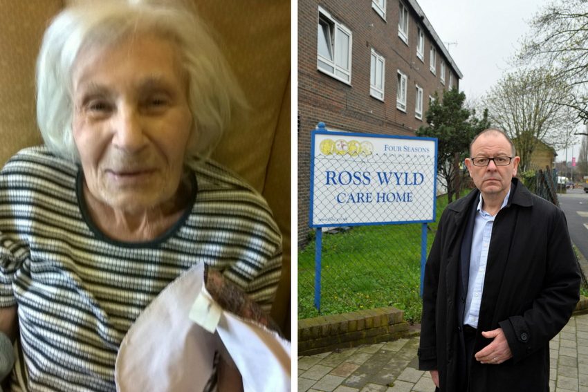 Hettie Lazarus, right, and her son Alan Lazarus, left, outside Ross Wyld Care Home in Forest Road, Walthamstow.