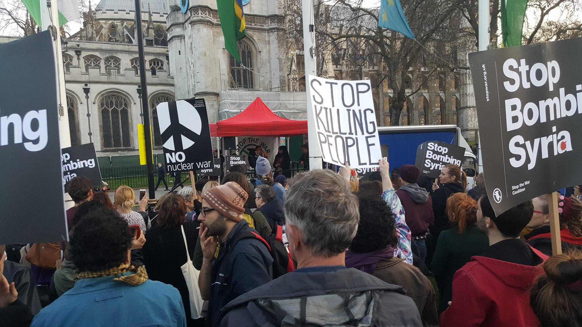 Protestors gathered in Parliament Square outside the Houses of Parliament