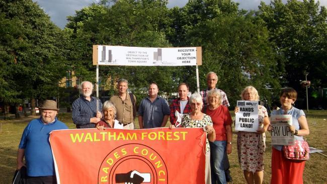 Campaigners are protesting plans for four high-rise tower blocks in Walthamstow Town Square.