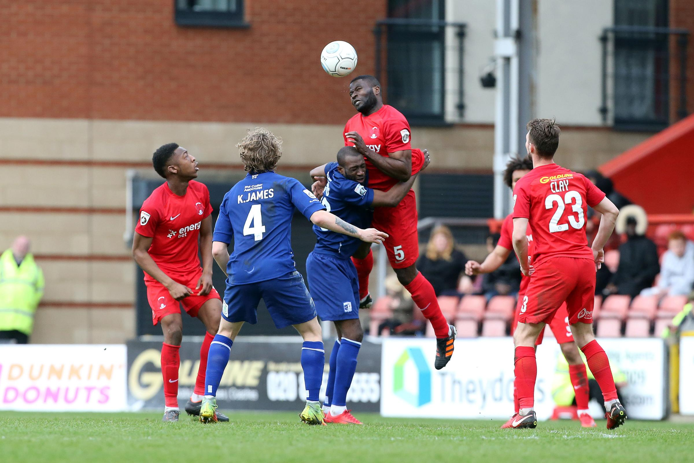 George Elokobi picked up a thigh strain against Hartlepool United last week. Picture: Simon O'Connor.