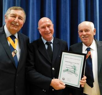 Townsperson of the Year Martyn Simmons with Freeman of Epping and retired firefighter John Batchelor (left) and Epping Fire Station Watch Manager Derek Whitbread who both nominated Mr Simmons for the award