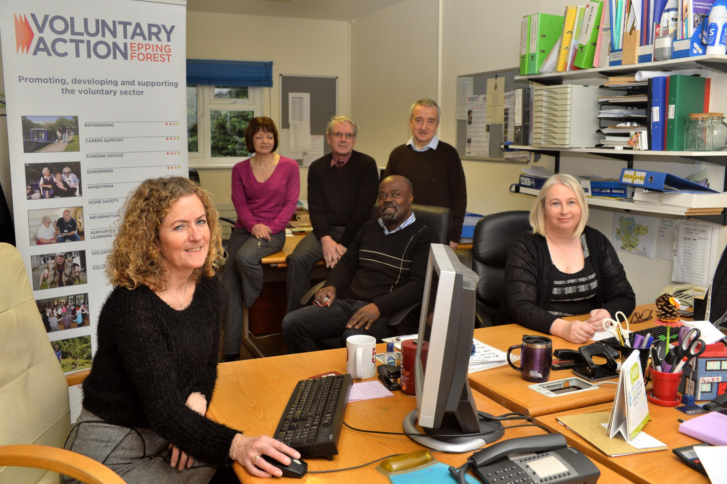 Chief officer Jacqui Foile with staff members Debbie Smith, David Wright, Aubrey Brandy, Colin Rowell and Maggie Gilchrist, the Voluntary Action charity needs  a new home, their lease is up on March 18. Epping, Essex. (9/1/2018) EL91787_02