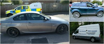 The three stolen cars recovered by Essex Police