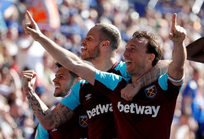 Mark Noble celebrates his superb strike. Picture: Action Images