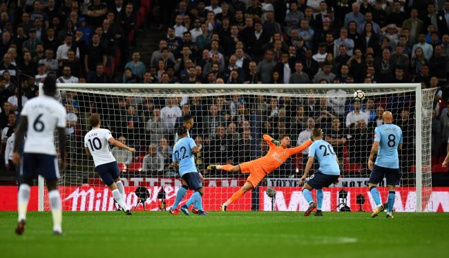 Harry Kane scores Tottenham's winner. Picture: Action Images
