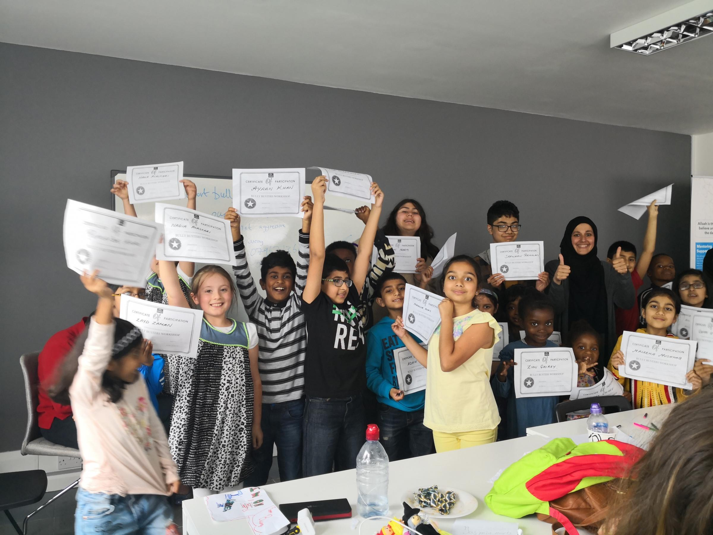 Fifty children took part in a bully busting workshop to learn how to stand up for themselves and others.