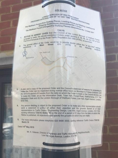 The notice appeared at the end of the road on May 14
