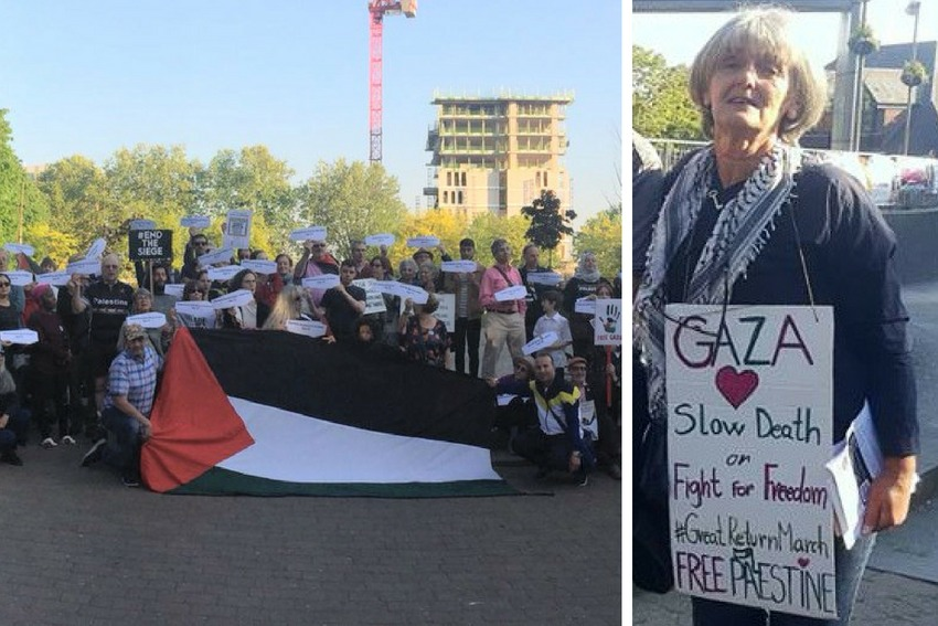 Rada Daniell, right, is urging people to join pro-Palestinian campaign groups in their area. Left, some of the crowds who attended the Nakba vigil in Walthamstow Town Square.