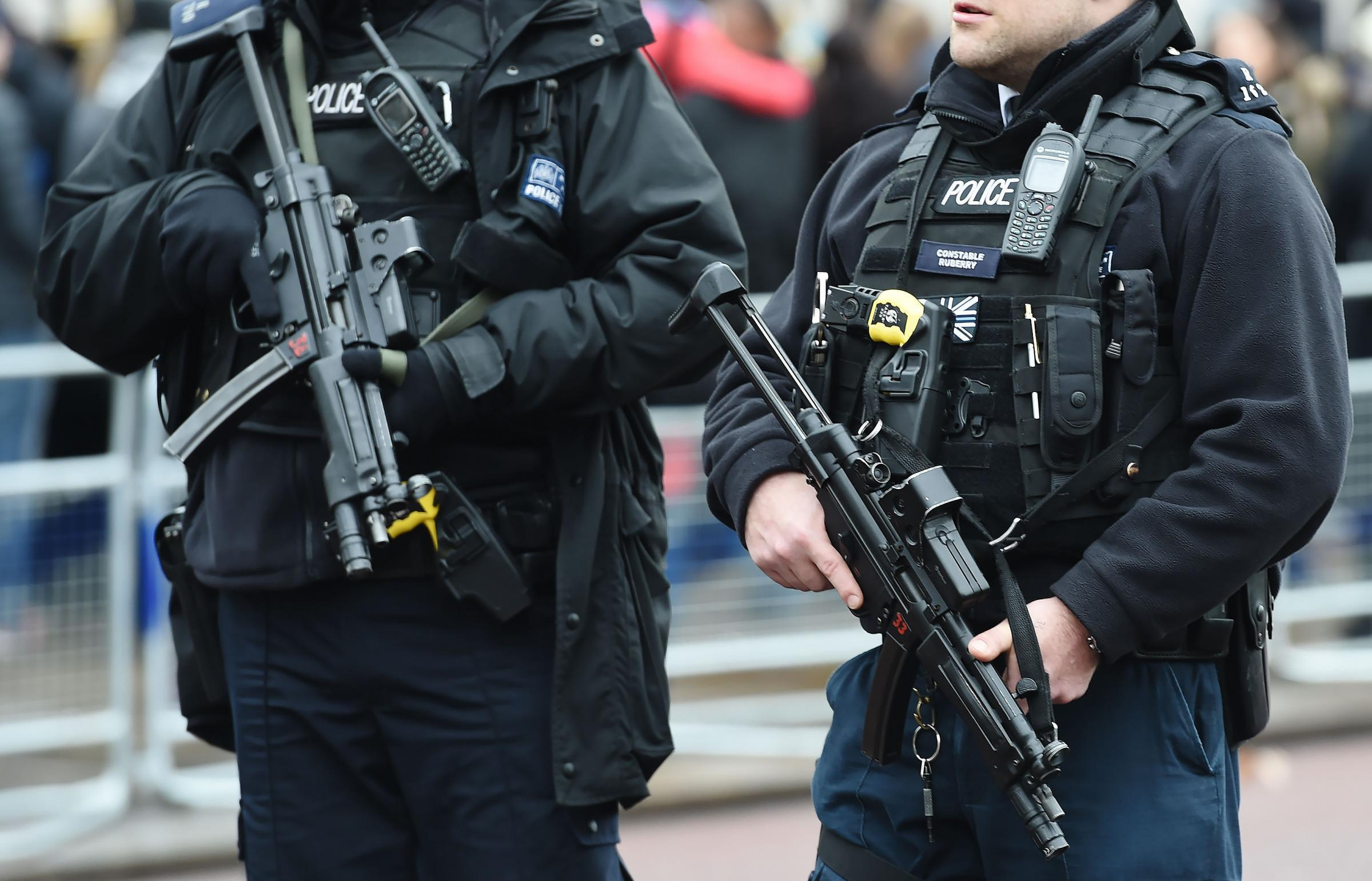 File photo dated 21/12/16 of armed police. Thousands of police officers will be asked if they want to be routinely armed in a major survey launched on Monday. PRESS ASSOCIATION Photo. Issue date: Monday January 9, 2017. All members of the Metropolitan Pol