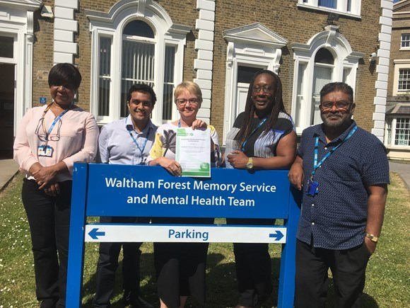 The Waltham Forest Memory Service and Mental Health team Stella Dodoo, Dr Samir Shah, Sandra Williams, Tina Luckie and Wazir Khan.