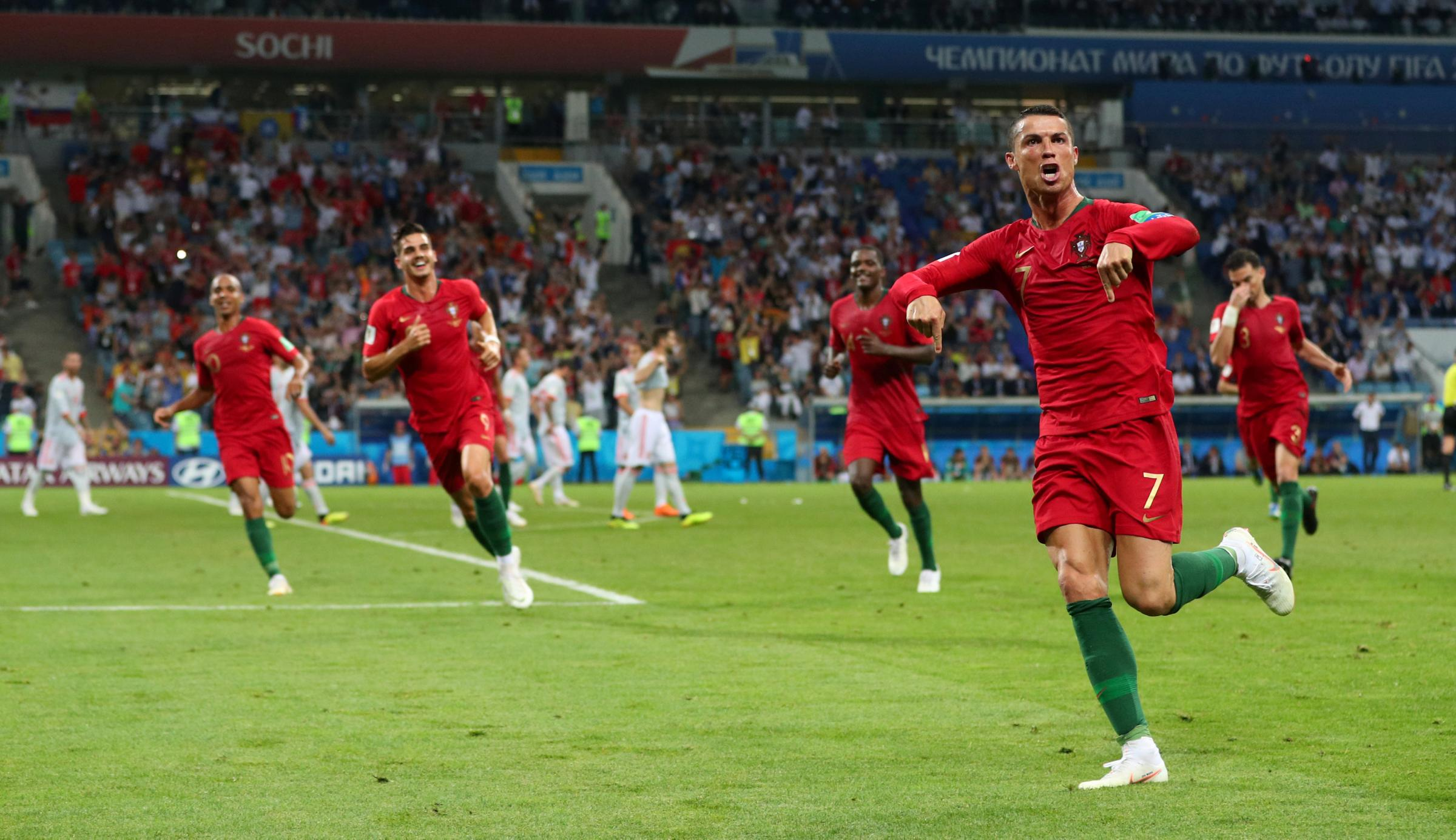 Cristiano Ronaldo celebrates his stunning equaliser. Picture: Action Images