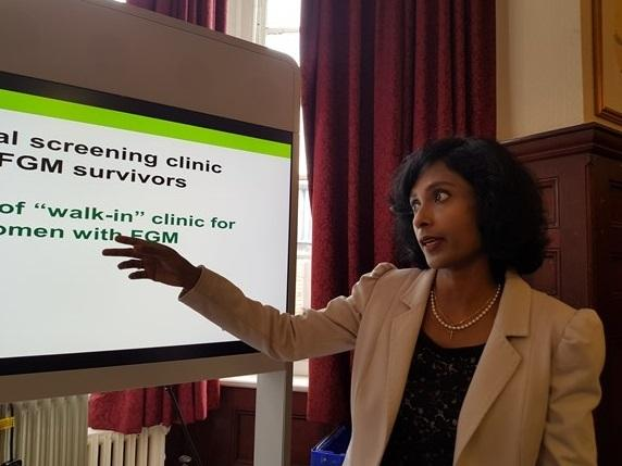 Dr Reeba Oliver, consultant obstetrician and gynaecologist at Barts Health NHS Trust, at the launch of the new walk-in clinic at Whipps Cross Hospital.