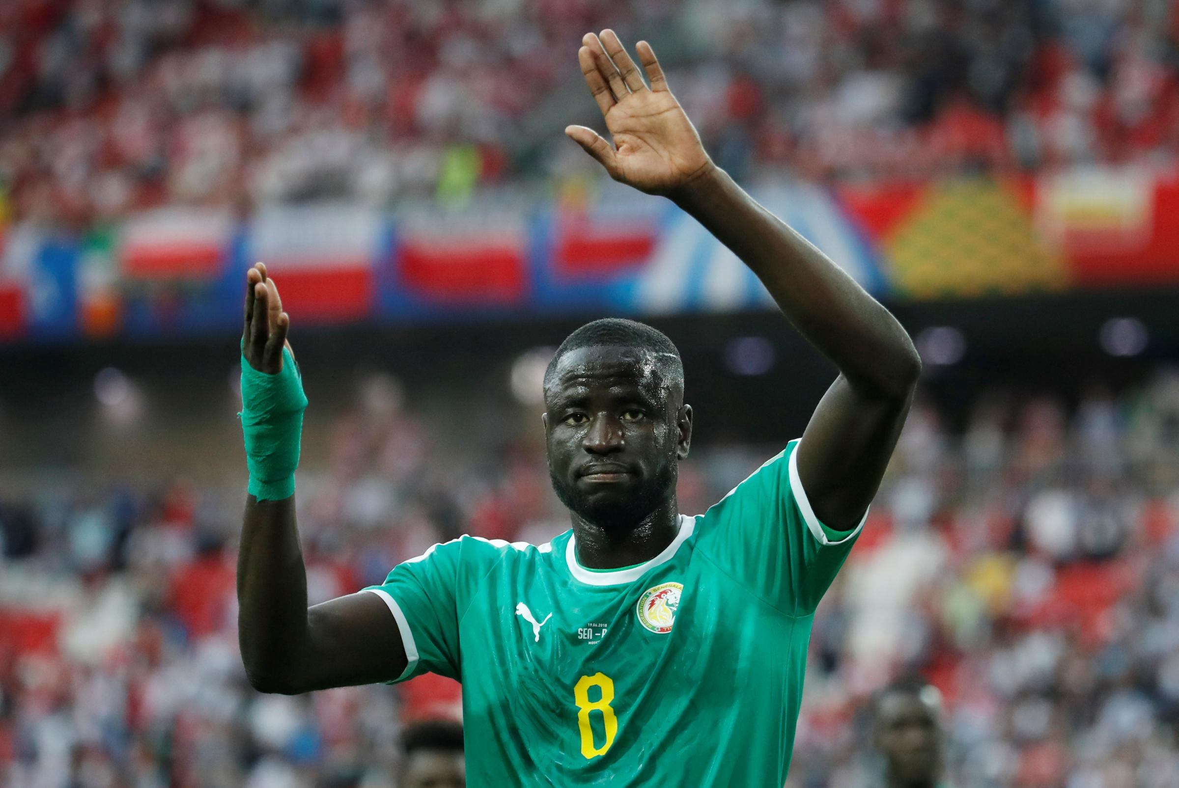 Cheikhou Kouyate celebrates after the match. Picture: Action Images