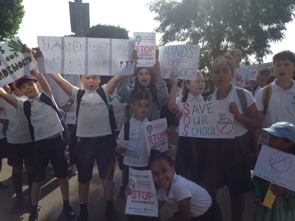 Pupils protesting against the academisation of Handsworth Primary School in Highams Park.