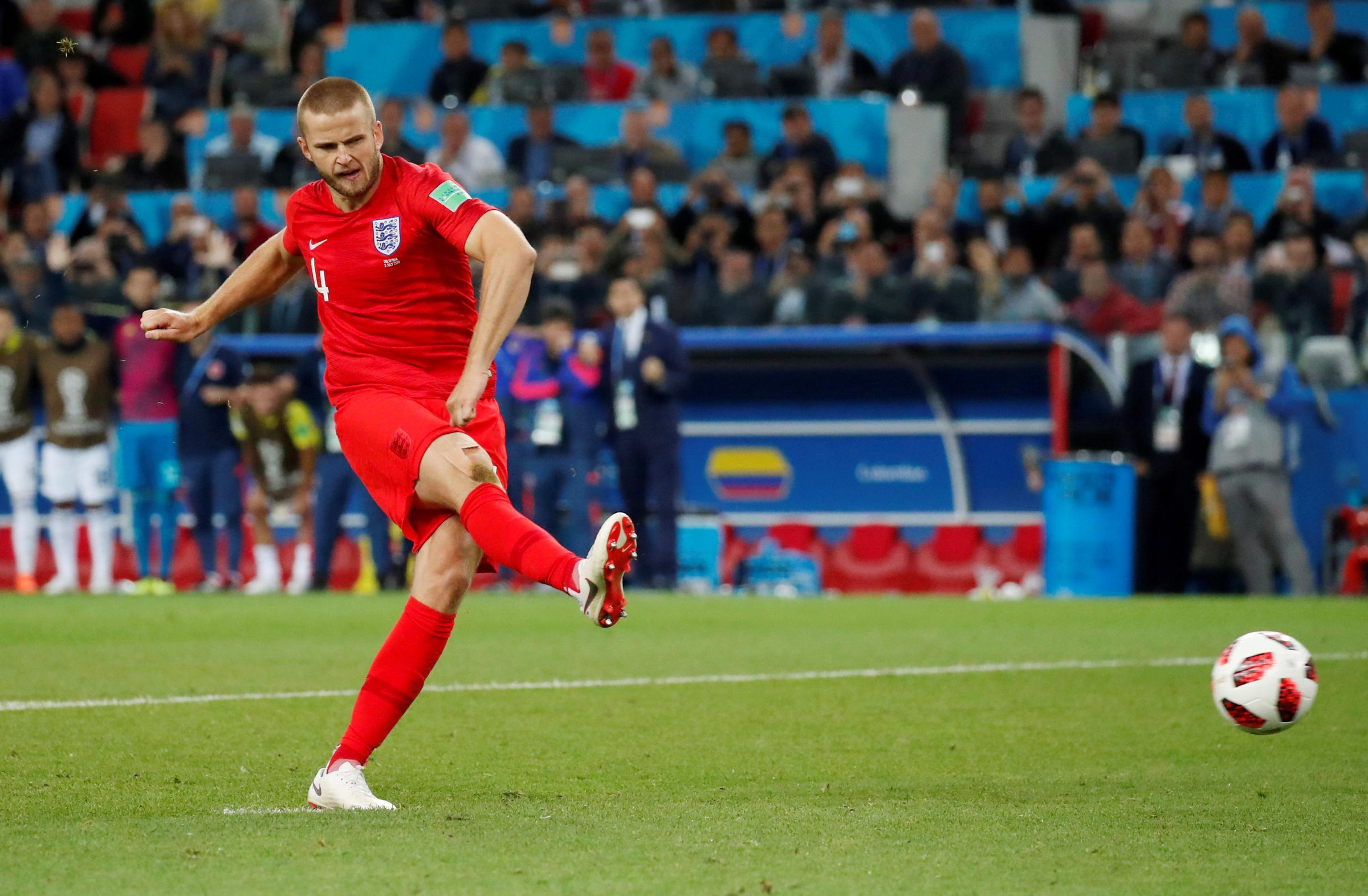 Eric Dier fires England into the World Cup quarter-finals. Picture: Action Images