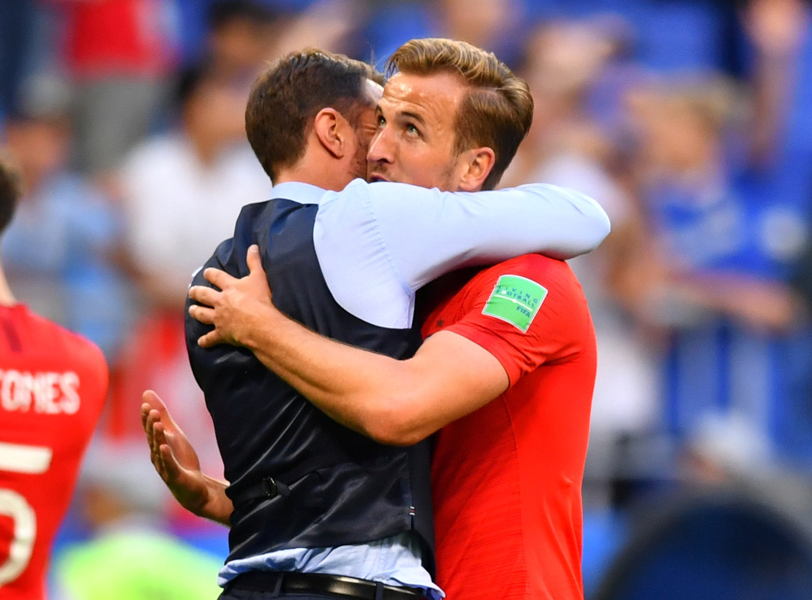 Harry Kane embraces Gareth Southgate following England's quarter-final victory over Sweden. Picture: Action Images