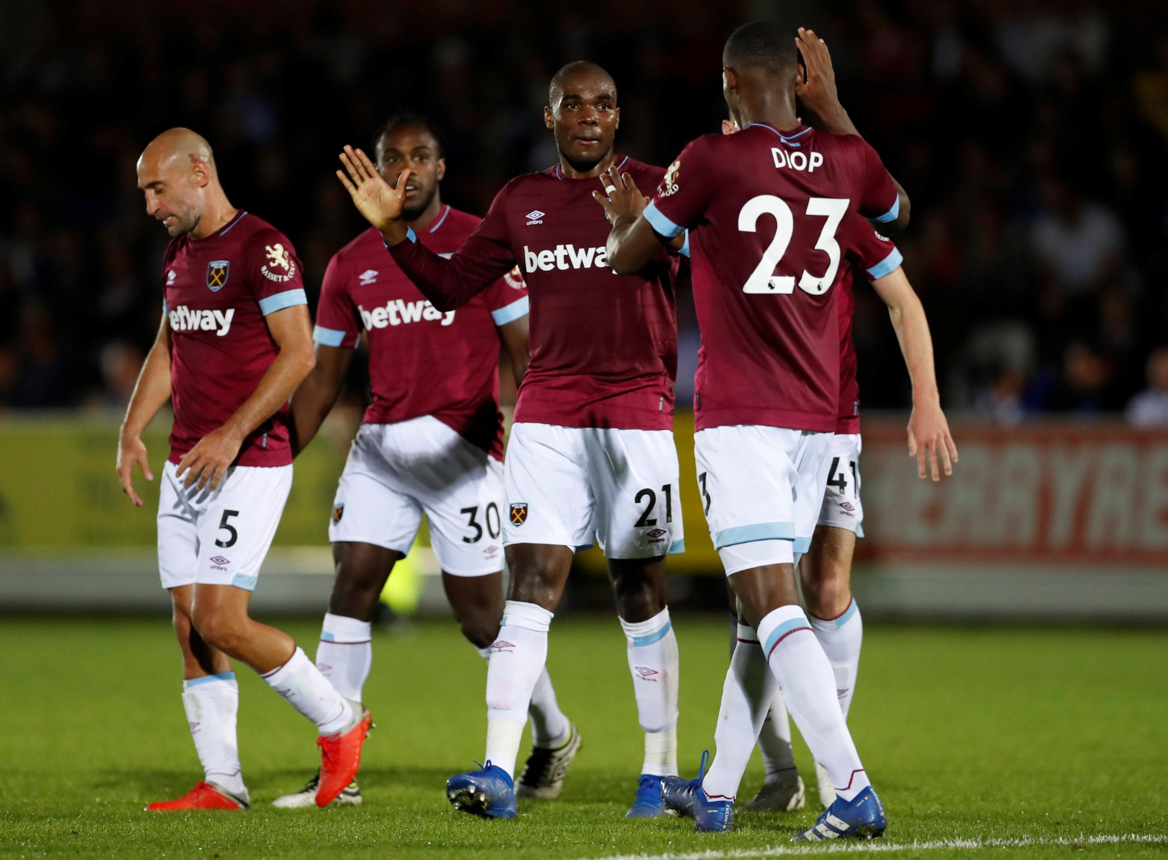 Angelo Ogbonna celebrates his goal on Tuesday night's second round victory. Picture: Action Images