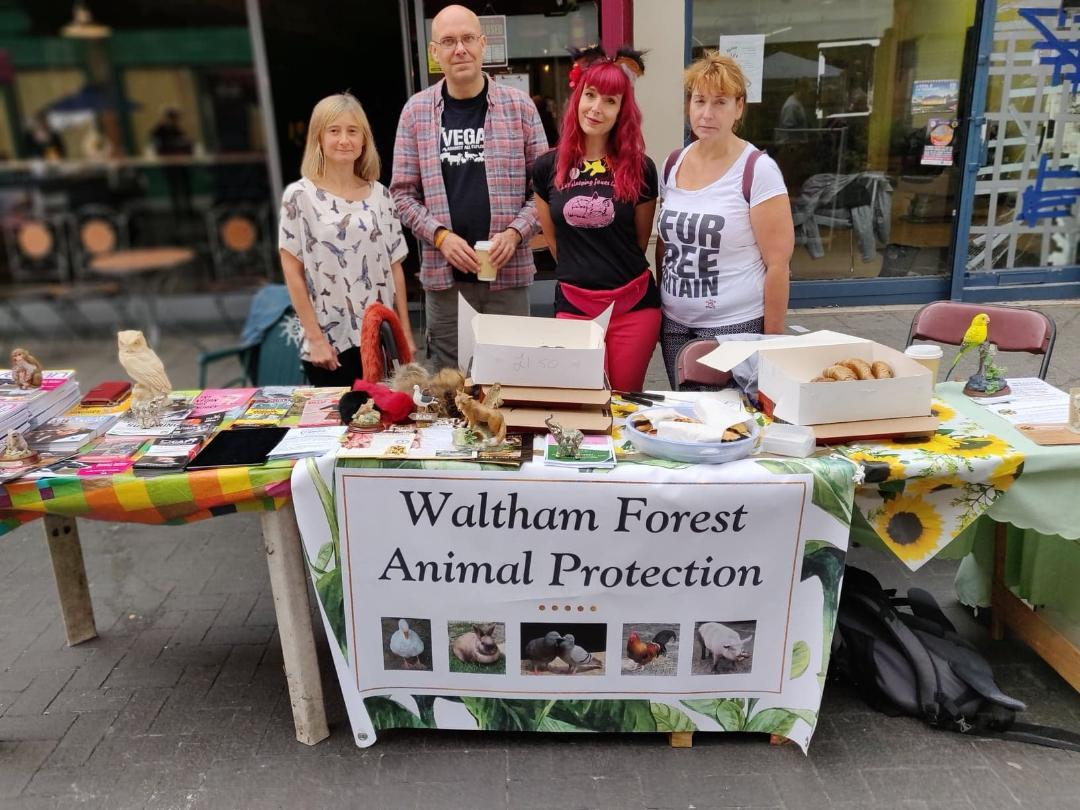 Members of Waltham Forest Animal Protection held a stall at the recent vegan market in Walthamstow High Street asking people to sign their petition
